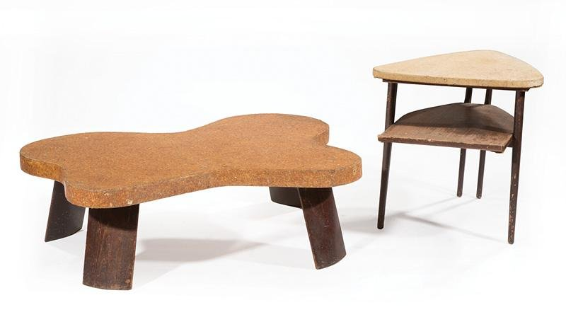 Paul Frankl Lacquered Cork, Mahogany Table