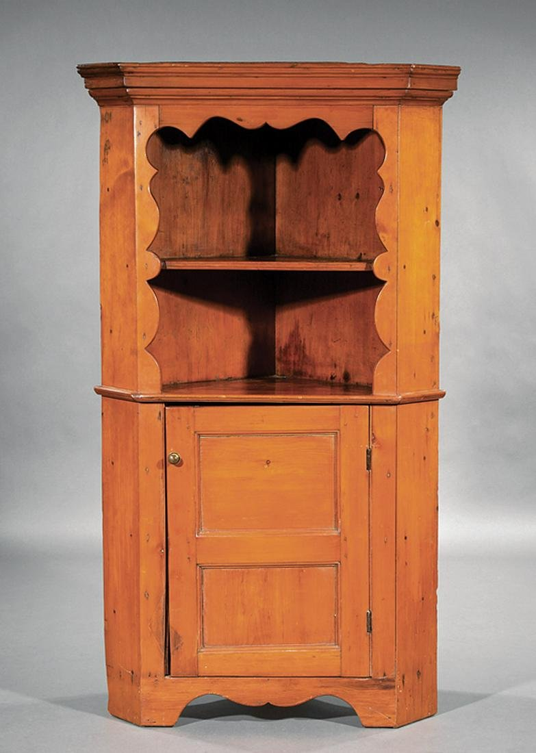Federal Carved Cherrywood Corner Cabinet