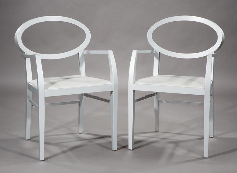 """Contemporary Painted """"Zarina"""" Armchairs"""
