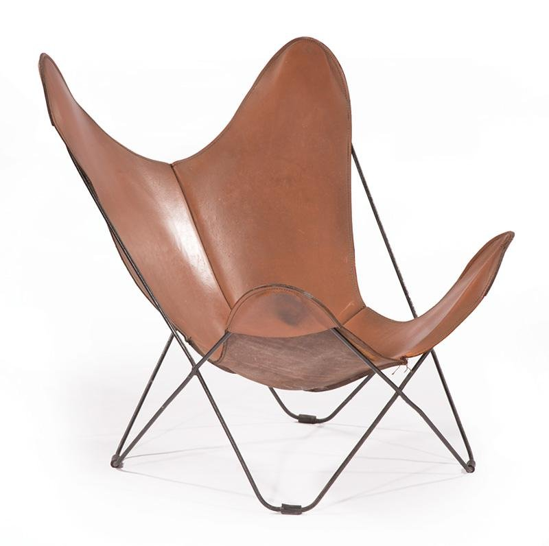 "Contemporary Leather ""Butterfly"" Chair"