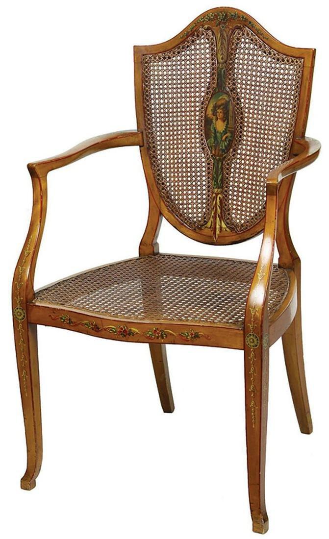 Edwardian Painted Satinwood Armchair