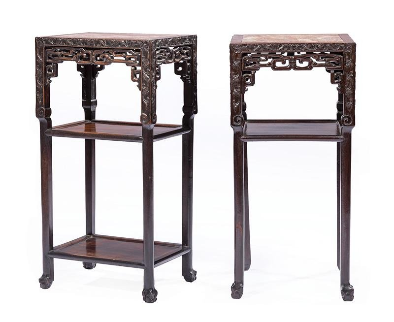 Two Chinese Carved Hardwood Tall Tables