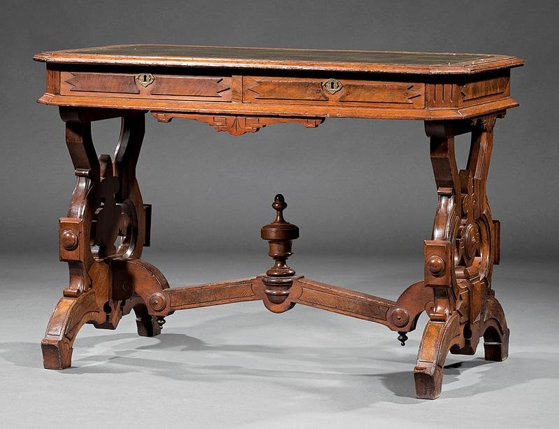 Carved Walnut and Burl Library Table