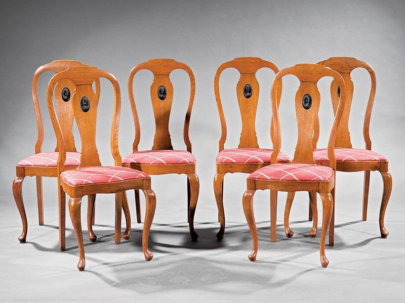 Parcel Ebonized and Carved Oak Side Chairs