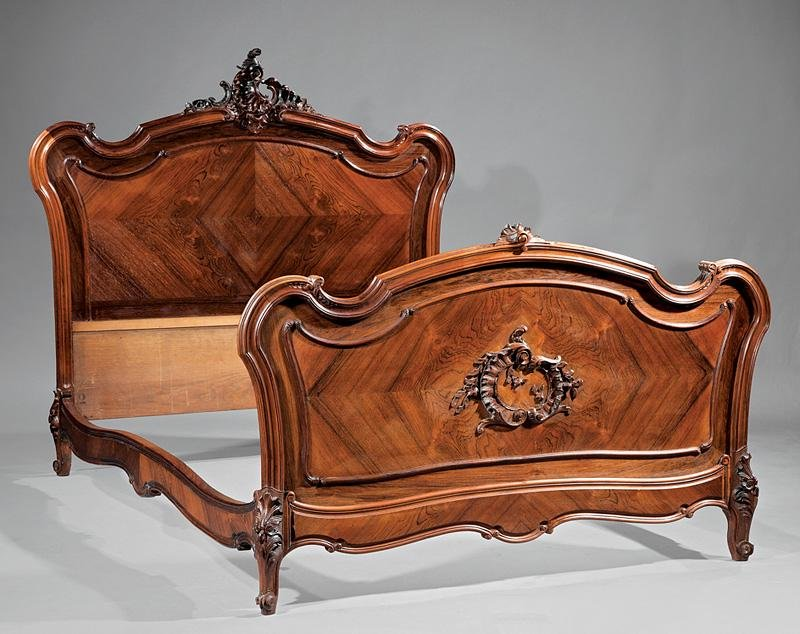 Antique French Rococo Rosewood Bed