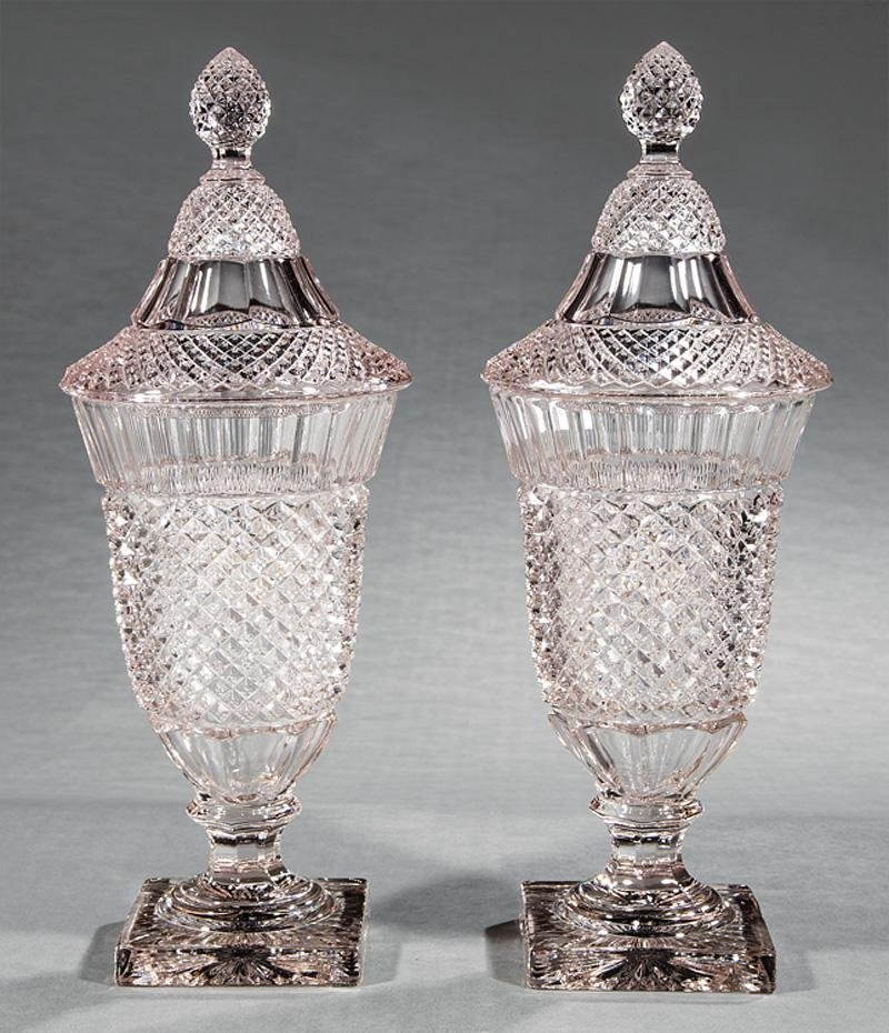 Diamond Point Glass Covered Sweetmeat Urns