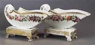 A Pair of Paris Porcelain Shell-Form V