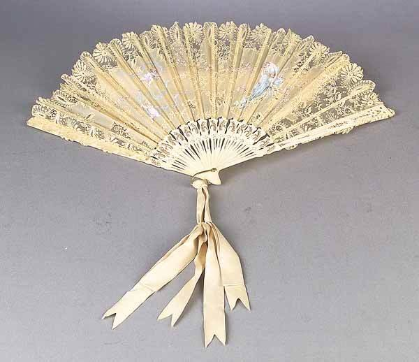 0007: An Antique French Painted Gauze and Bl