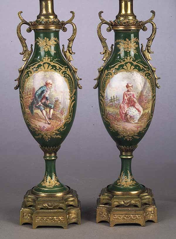 0805: A Pair of Sevres-Style Porcelain and G