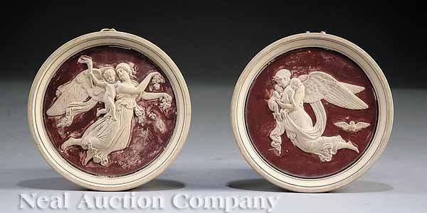 0019: Pair of Earthenware Roundels after Thorvaldsen