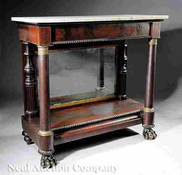 0341: American Classical Carved Mahogany Pier Table