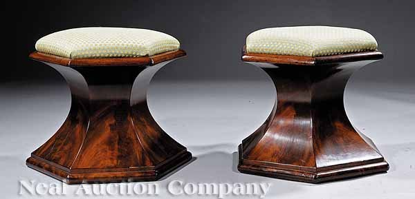 0467: Pair of American Late Classical Stools
