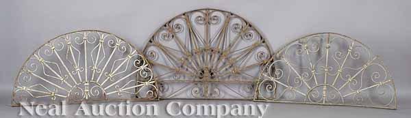 0705: Set of Six Wrought Iron Over-Door Fanlights