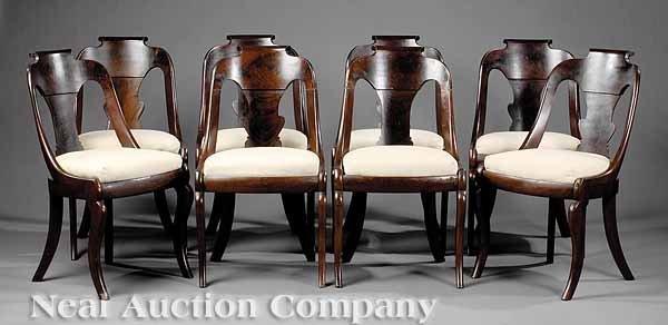 0713: Eight American Classical Mahogany Gondola Chairs