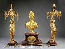 1000 Rouge Griotte Marble Clock Garniture