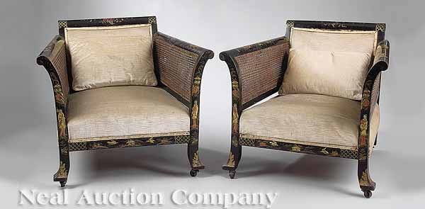 1135: Pair of Art Deco Chinoiserie and Caned Bergeres