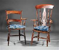 Two Antique English Carved Hardwood Armchairs