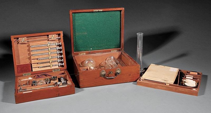 Two English Mahogany Medical Instrument Cases