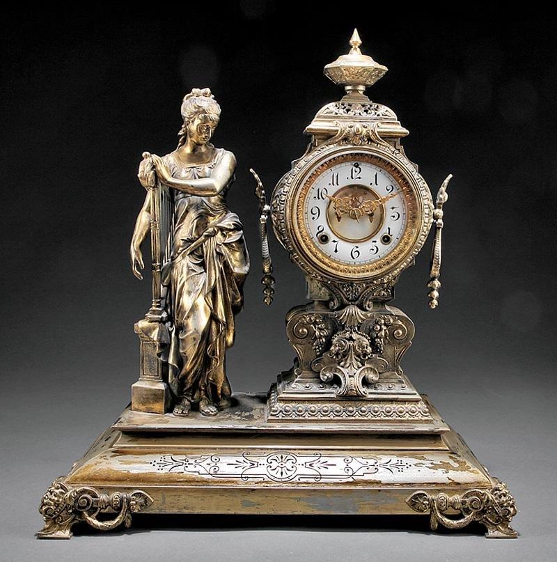 Ansonia Gilt Metal Figural Mantel Clock