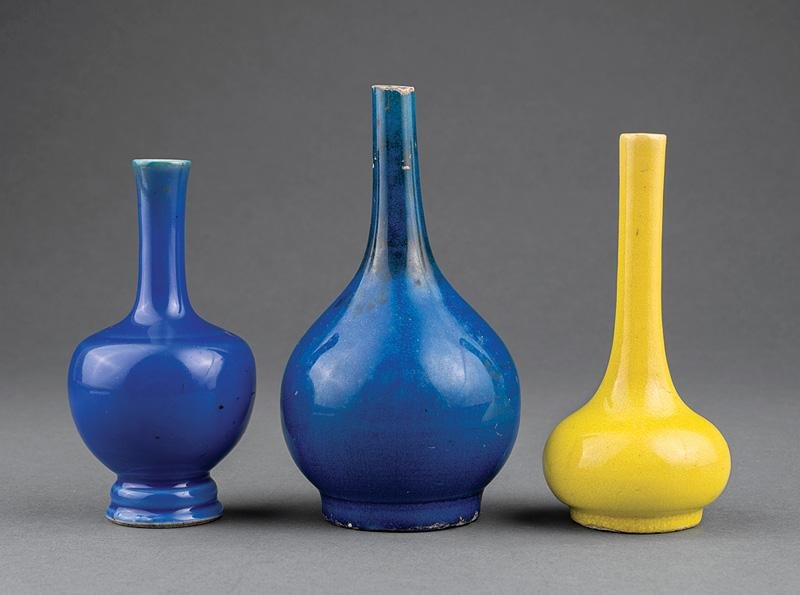 Three Chinese Monochrome Porcelain Bottle Vases