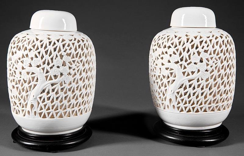 Chinese White Glazed Pottery Covered Lanterns