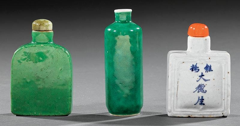 Three Chinese Glazed Porcelain Snuff Bottles