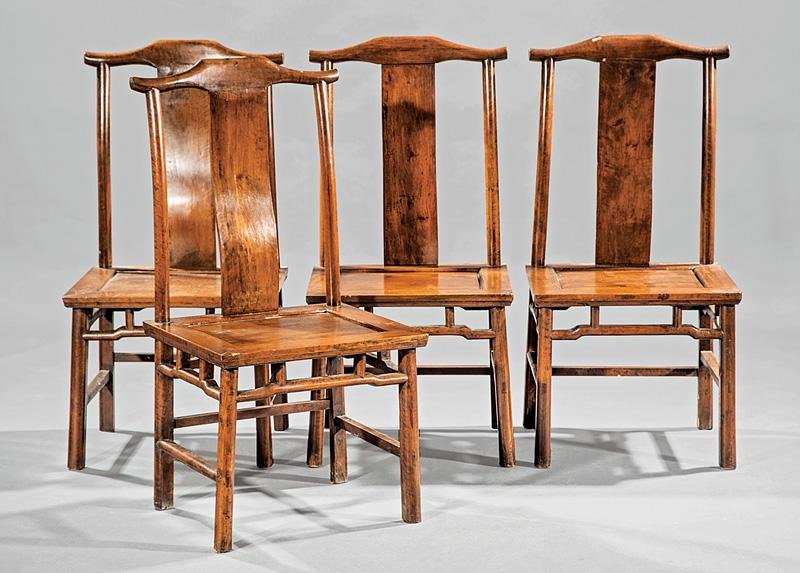 Four Chinese Carved Wood Side Chairs