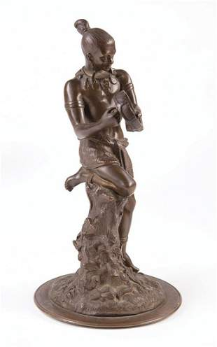 Patinated Bronze of Ceremonial Drummer