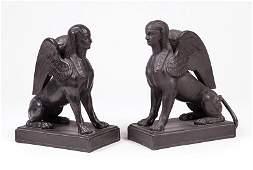 Pair of Wedgwood Black Basalt Sphinxes