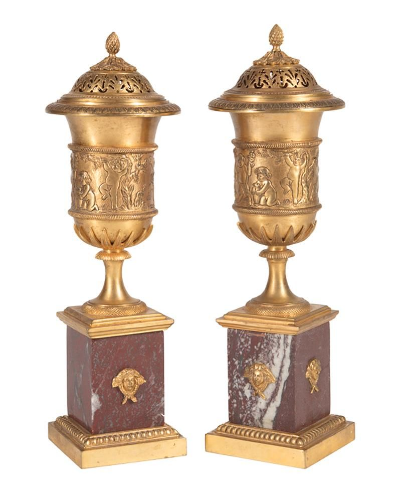 Rouge Marble & Gilt Bronze Candle Vases