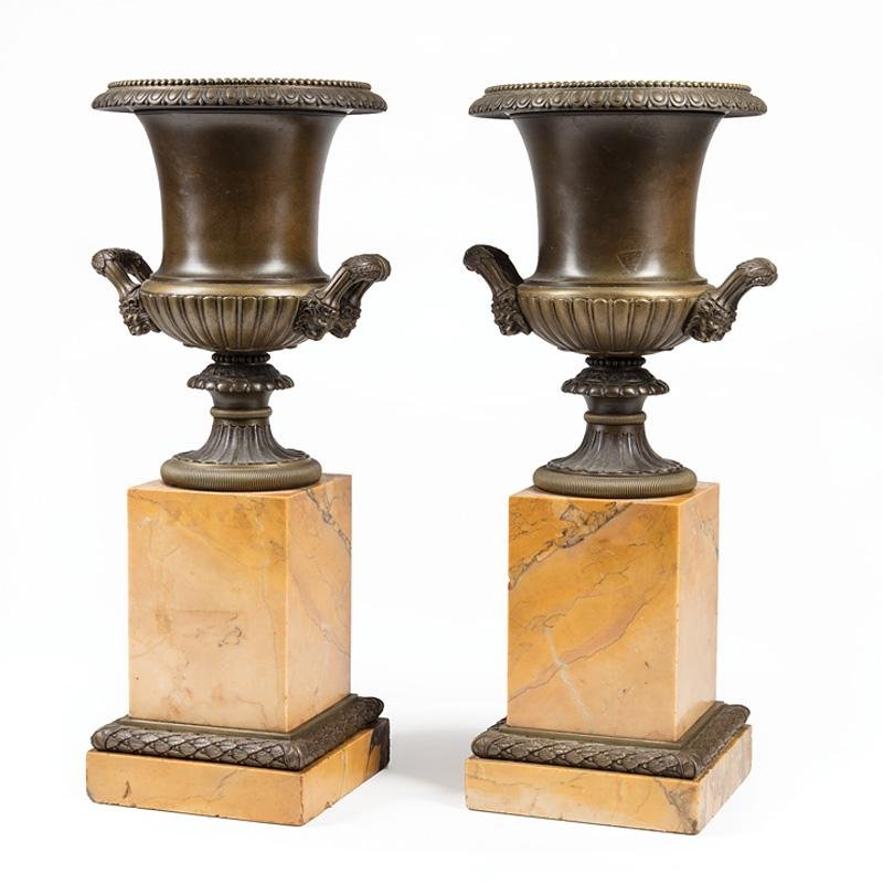 Patinated Bronze and Marble Medici Urns