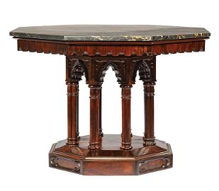 Gothic Carved Rosewood Center Table