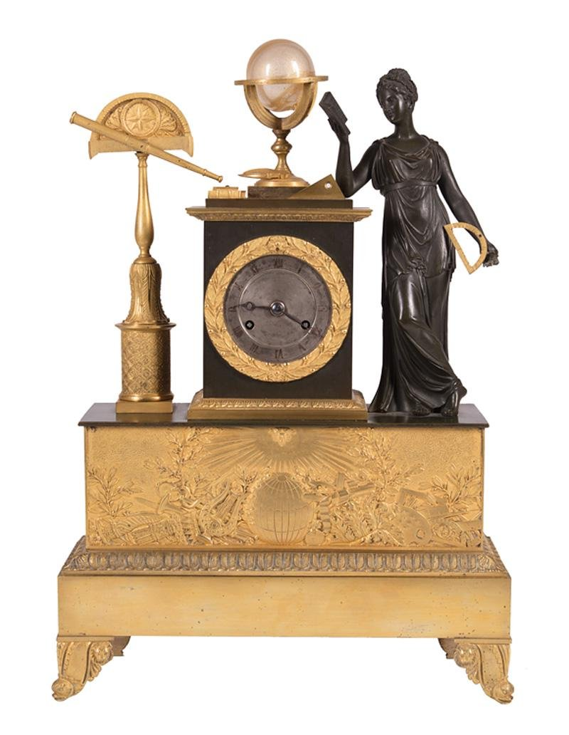 Gilt and Patinated Bronze Mantel Clock