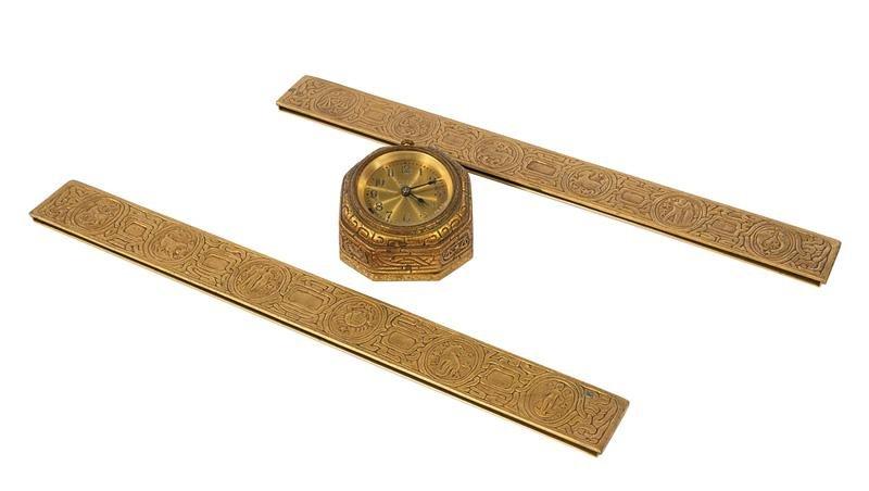 "Tiffany Gilt Bronze ""Zodiac"" Desk Clock and Blott"