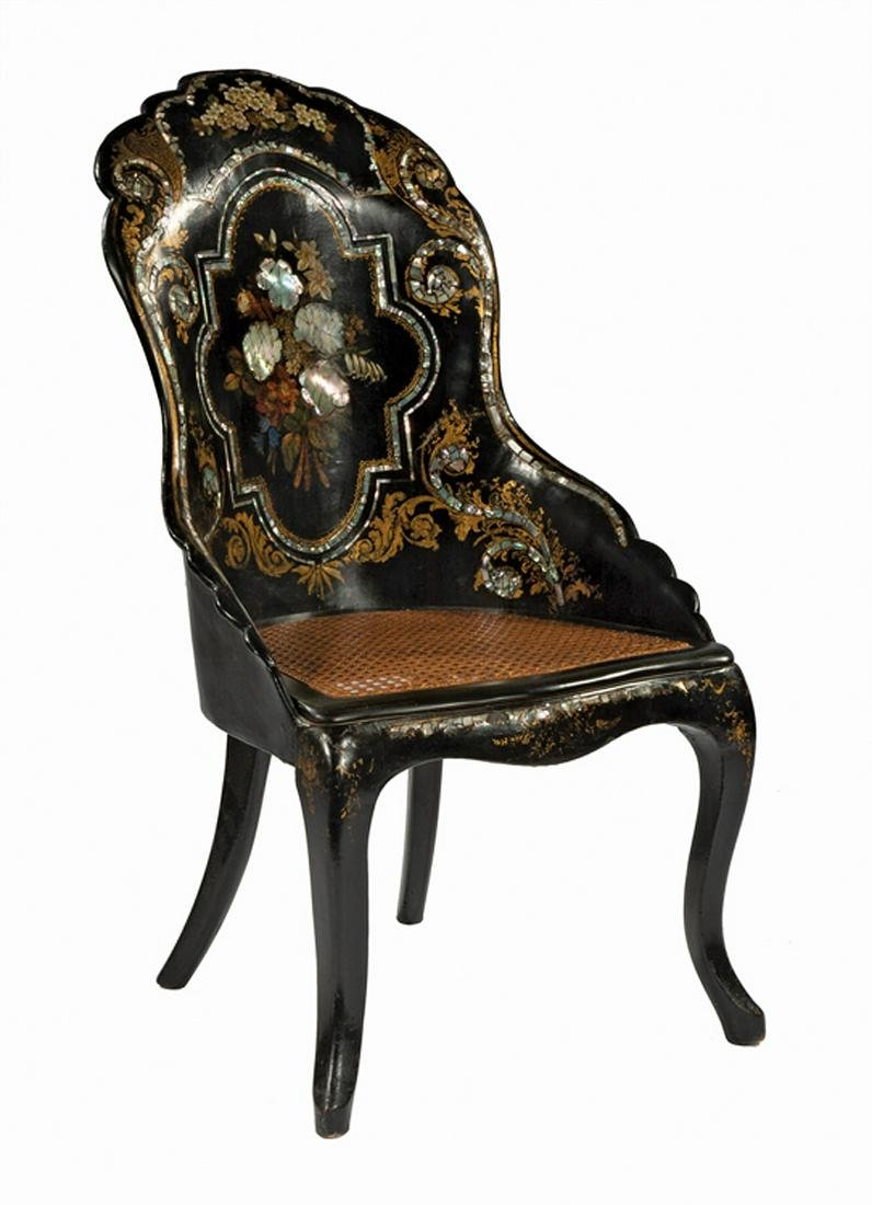 Lacquered and Papier-Mache Side Chair