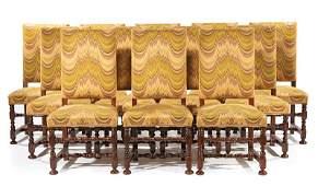 Twelve Continental Walnut Side Chairs