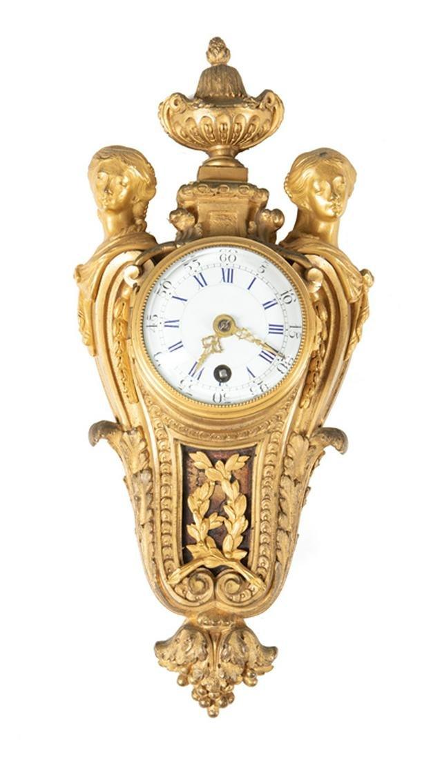 Diminutive French Bronze Cartel Clock