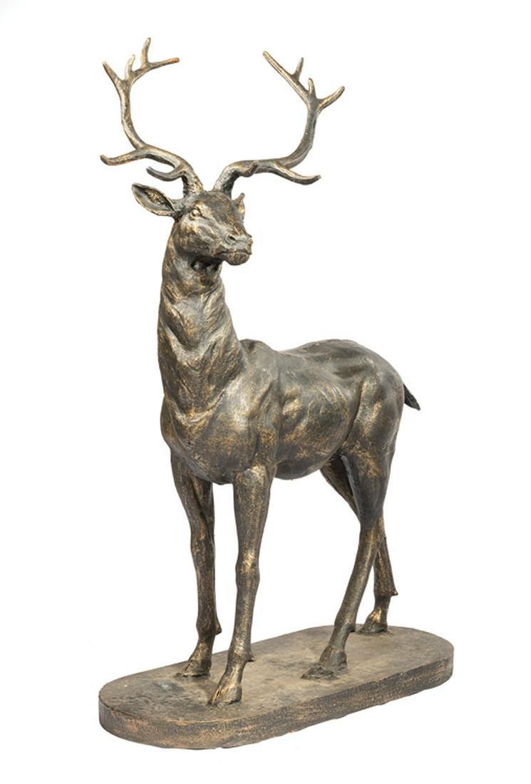 Large Pair of Patinated Metal Deer Garden Statues