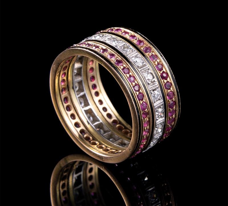 Gold, Ruby, Diamond Enamel Wedding Band