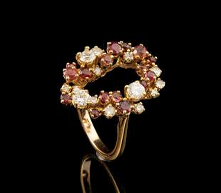 Gold Ruby Pink Sapphire Diamond Ring