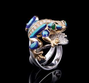 Gold Enamel and Diamond Ring