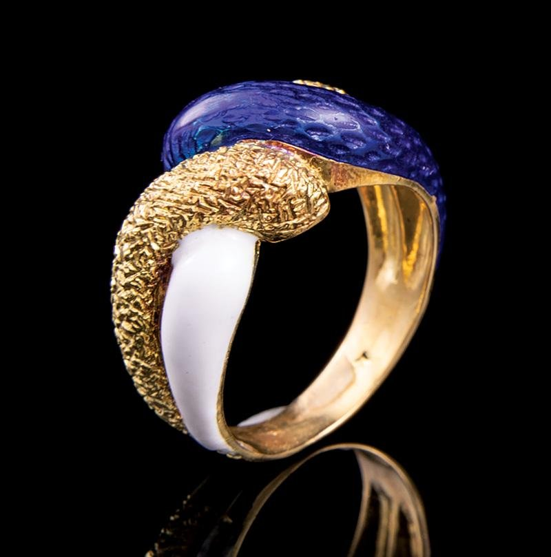 Cartier Yellow Gold, Blue Enamel Ring