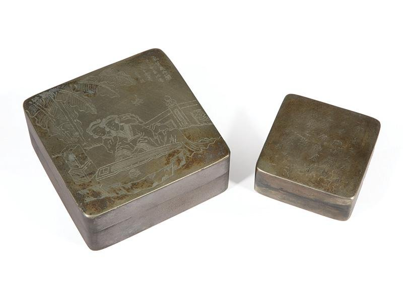Chinese White Copper/Paktong Ink Boxes