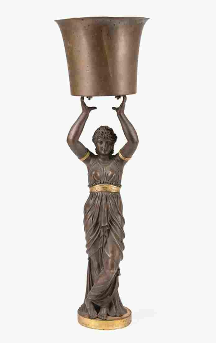 Gilt, Patinated Bronze Figural Standard