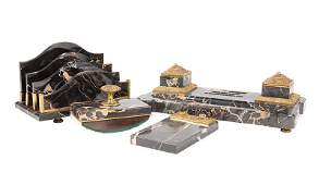 French Bronze-Mounted Marble Desk Set