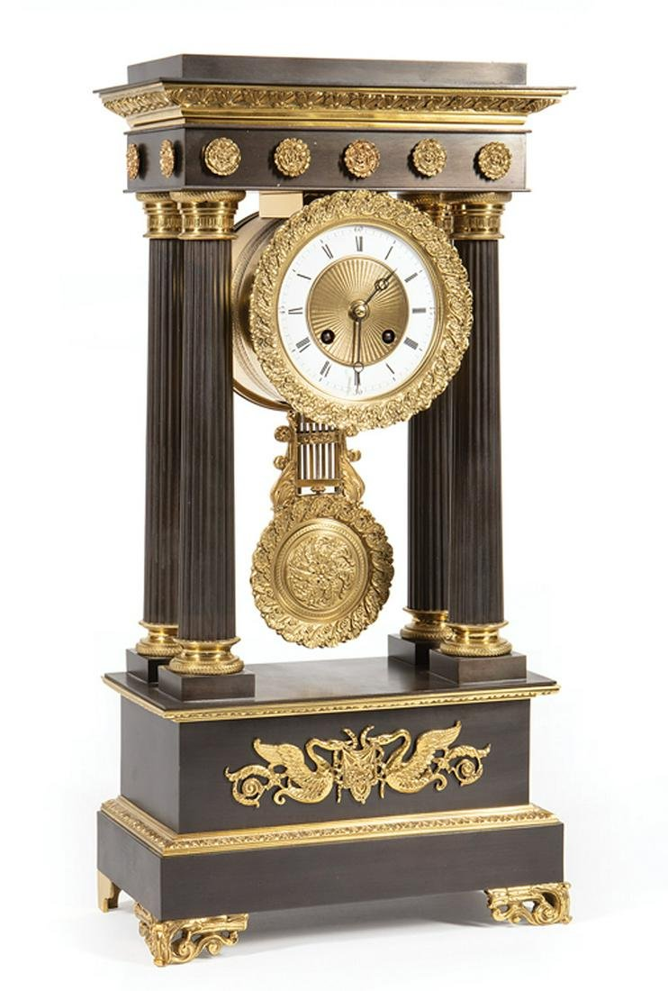 Patinated and Gilt Bronze Portico Clock