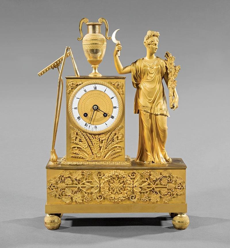 Gilt Bronze Figural Mantel Clock