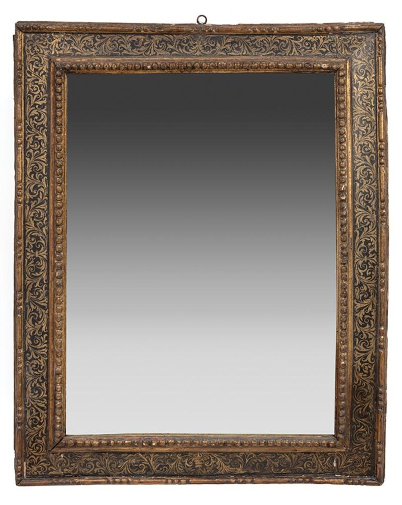Carved, Painted and Parcel Gilt Mirror