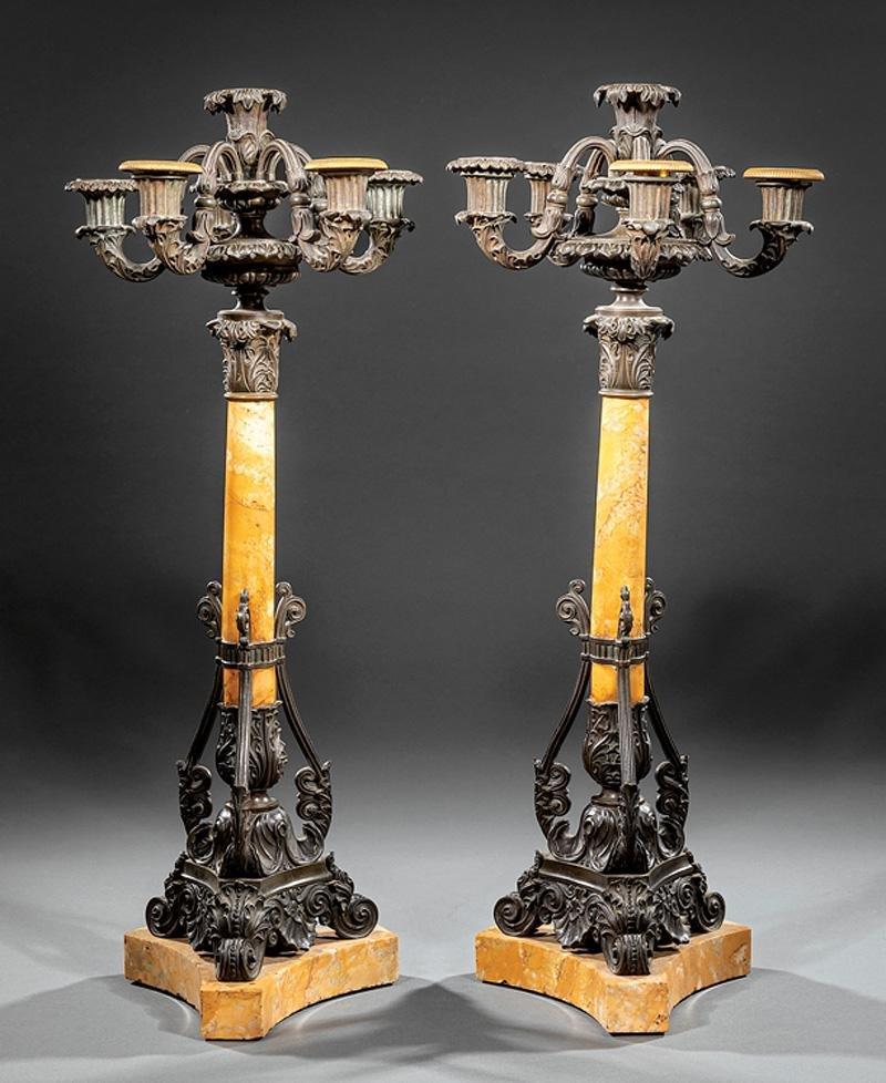 Bronze and Sienna Marble Candelabra