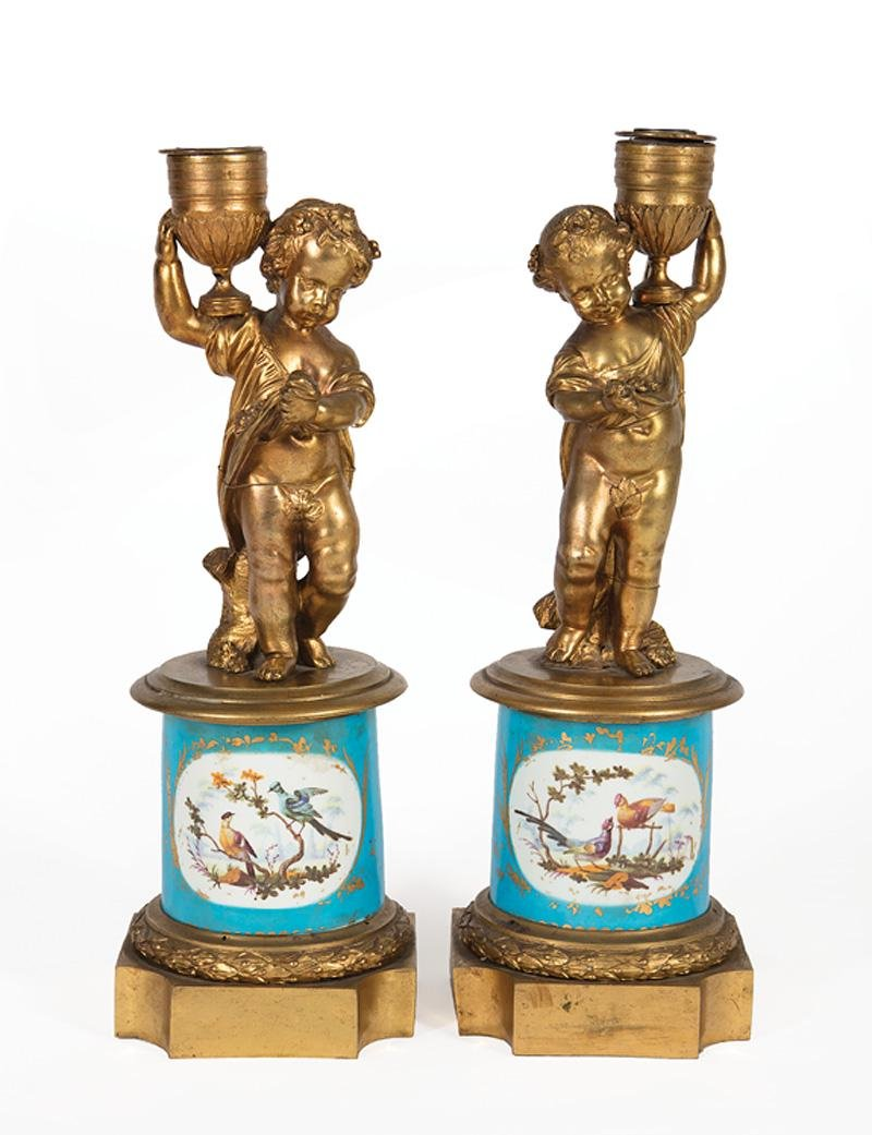 Porcelain and Bronze Table Lamps